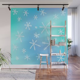 Unique Snowflakes on Blue Gradient Background Wall Mural