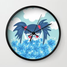 Geek Girl With Heart Shaped Eyes And Blue Flowers Wall Clock