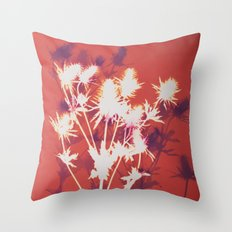 Photogram - Seaholly in Red Throw Pillow