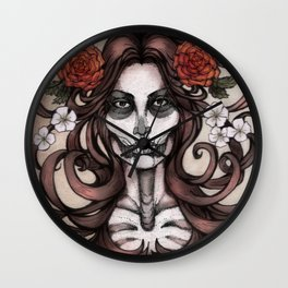 Blossoming Day of the Dead Wall Clock
