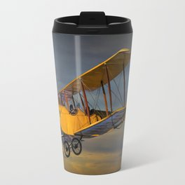 Yellow Biplane with Sunset Cloudy Sky Travel Mug