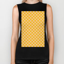 Deep Peach Orange and Amber Orange Checkerboard Biker Tank