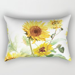 Watercolor Sunflower Rectangular Pillow
