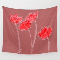 grace Wall Tapestries featuring Poppies(grace). by Mary Berg