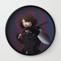the winter soldier Wall Clocks featuring Winter Soldier  by Inkforwords