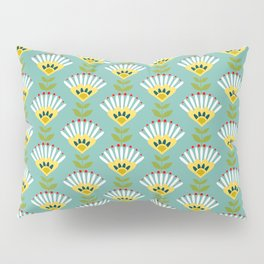 Sunny office mint: Retro Lifestyle pattern Pillow Sham