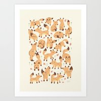 foxes Art Prints featuring Foxes by Greg Abbott