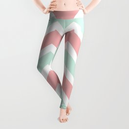Zig Zag Chevron Soft blue & soft pink waves pattern Leggings