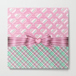 Girly Hearts & Green Plaids Metal Print