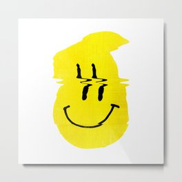 Smiley Glitch Metal Print