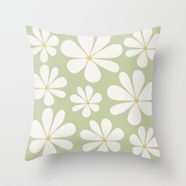 Floral Daisy Pattern - Green Throw Pillow