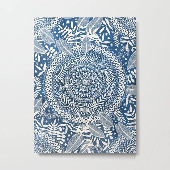 Diamond and Doodle Mandala On Blue Metal Print