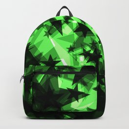 Dark green space stars with glow in the distance from the foil in perspective. Backpack