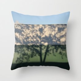 Shadow Tree on an industrial building Throw Pillow
