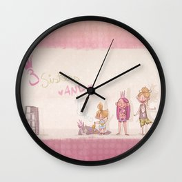 3 Sisters and a Dog! Wall Clock