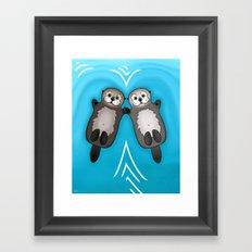 Otters Holding Hands - Otter Couple Framed Art Print