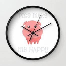 Adorable Pigs Make Me Happy Cute Piglet Pig Girl Wall Clock