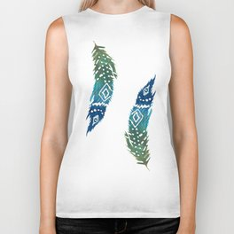 green and blue tribal feather Biker Tank