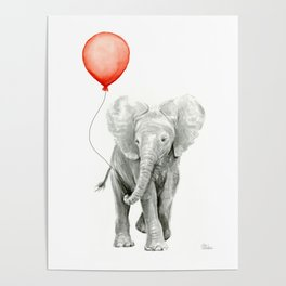 Baby Elephant Watercolor Red Balloon Nursery Decor Poster
