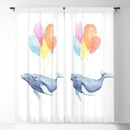 Whale with Balloons Blackout Curtain