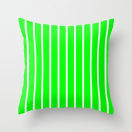 Vertical Lines (White/Green) Throw Pillow