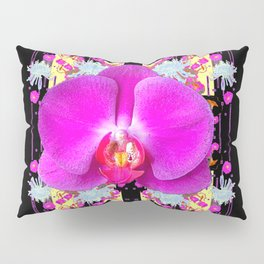 BLACK PURPLE BUTTERFLY ORCHID WHITE MUMS Flowers Pillow Sham