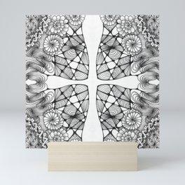 Black and White Zentangled Cross Tile Doodle Design Mini Art Print