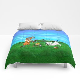 Easter - Spring-awakening - Puppy Capo with Rabbit and Chick Comforters