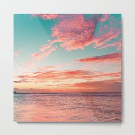 Perfect Tropical Exotic Beach Turquoise, Pink, Whimsical Sunset Metal Print