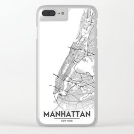 Minimal City Maps - Map Of Manhattan, New York, United States Clear iPhone Case
