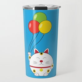 Fat Cat with Balloons Travel Mug