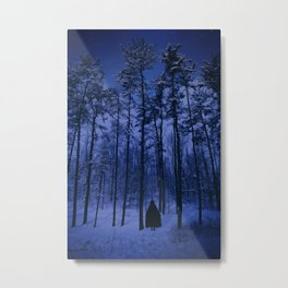 In The Cold Winter Forest At Night Metal Print