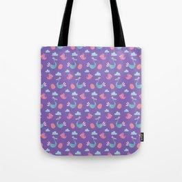 Modern green pink violet hand drawn birds pattern Tote Bag