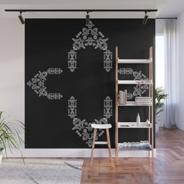 'Love 02'- Heart of lace on a chain in black and white Wall Mural