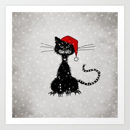 Evil Christmas Cat Art Print