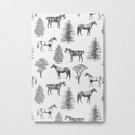 HORSES &TREES Black and white pattern  Metal Print