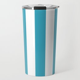 Moonstone turquoise - solid color - white vertical lines pattern Travel Mug