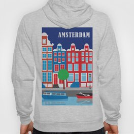 Amsterdam, Netherlands - Skyline Illustration by Loose Petals Hoody