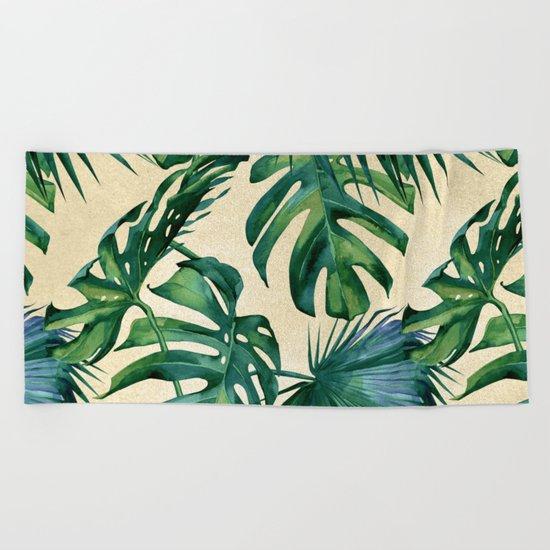 Tropical Island Republic Green on Linen Beach Towel