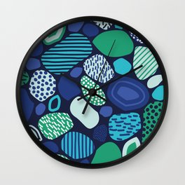 Confused Mosaic in Navy Wall Clock