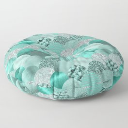 Green Turquoise Glamour Mermaid Scale Pattern Floor Pillow