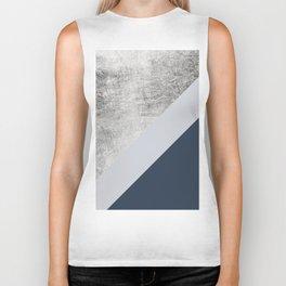 Modern minimalist navy blue grey and silver foil geometric color block Biker Tank
