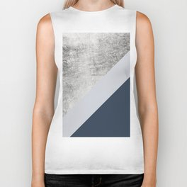 Modern minimalist navy blue grey and silver foil geometric color block Biker Tank