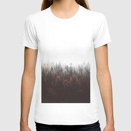 Misty Pine Forest Minimalist Modern Foggy Landscape Photography T-shirt