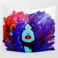 afro Wall Tapestries featuring afro color by WITH MY HANDS