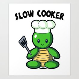 Turtle Chef In The Kitchen Cook Funny Gift Art Print
