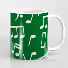 Dancing White Music Notes on Green Background Coffee Mug