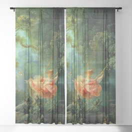 """Jean-Honoré Fragonard """"The Swing (L'Escarpolette)(The Happy Accidents of the Swing"""") Sheer Curtain"""
