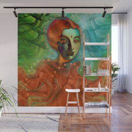 """""""Exotic woman in green and orange tropical jungle"""" Wall Mural"""