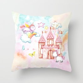 Unicorn Avalon Island Throw Pillow
